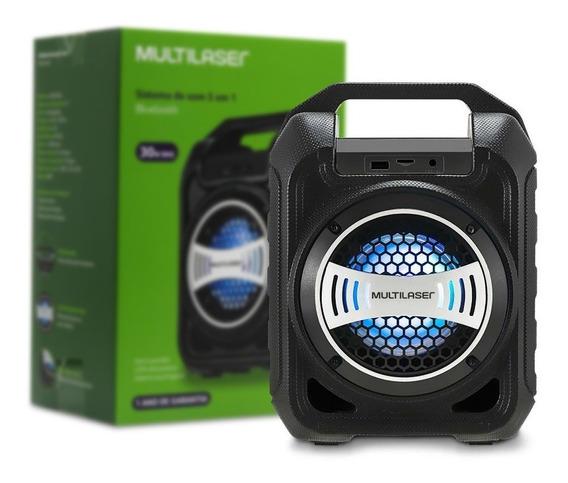 Caixa De Som Bluetooth Com 30w Potência, Radio Fm, Entrada Usb, Aux., Sd, Luz De Led Autonomia Da Bateria Até 4h Sp-313