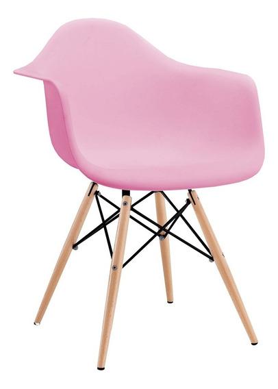 Cadeira Charles Eames Com Braço Rosa