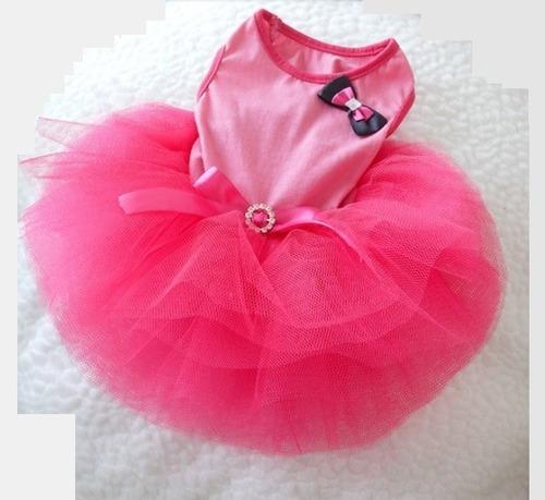 Ropa Perrita Hembra Pequeña Vestido Gatita Rosa Tutu Mascota