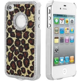 Capa Case iPhone 4 4s Oncinha Marrom Brilho Glitter