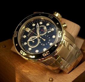 Invicta 0072 Pro Diver Dourado Ouro 18k Prata Na Caixa Nf