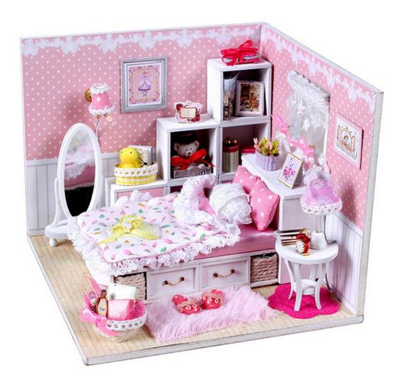 Diy Madeira Dollhouse Com Móveis Cobertura Montagem Boneca C