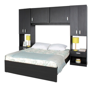 Combo Cama Closet Y Mesas De Noche Maderkit 01163-prm