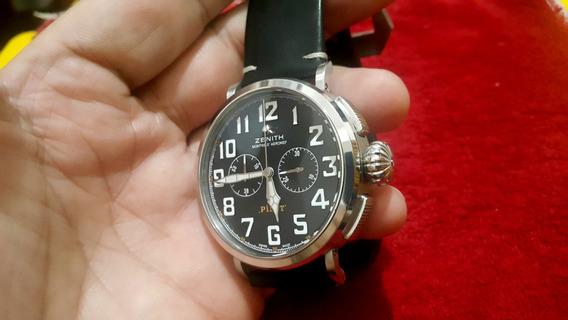 Relógio Zenith Pilot Preto Cronógrafo Quartz Máq. Japonesa
