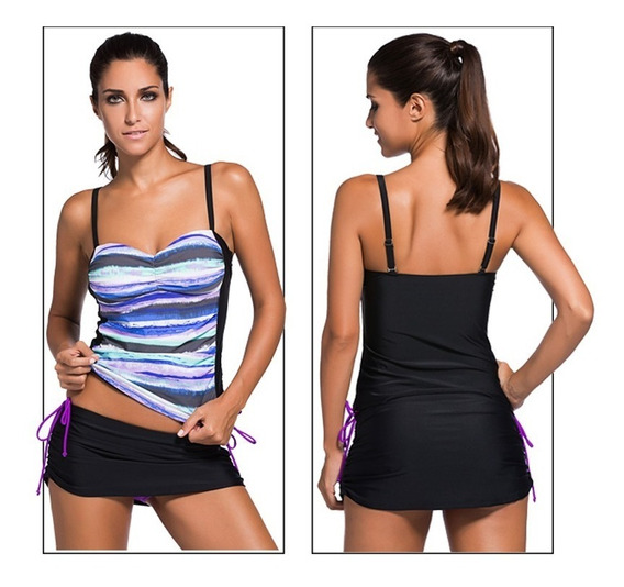 Traje De Baño Mujer Falda/blusa /bikini ( Tankini )