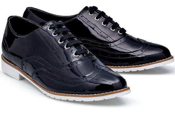 Sapato Feminino Em Couro Verniz Flamarian Oxford 201282-6