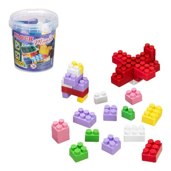 Blocos Montar Balde 104 Peças Brinquedo Educativo Tipo Lego