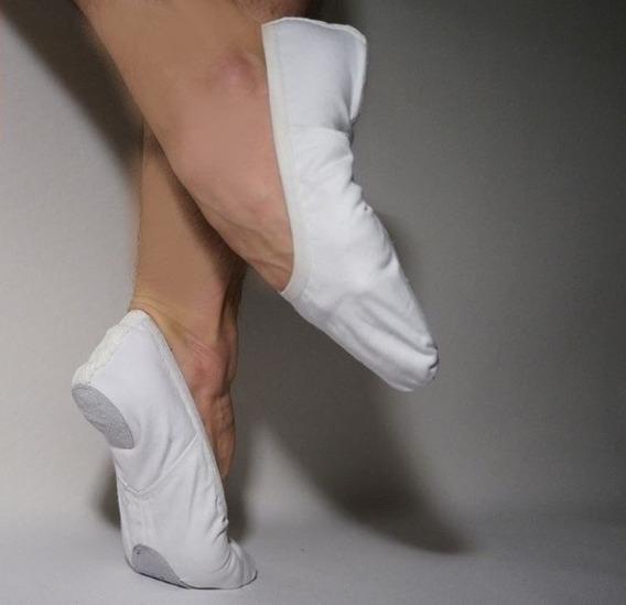 Zapatillas De Danza Media Puntas Badanas De Lona Y Lycra