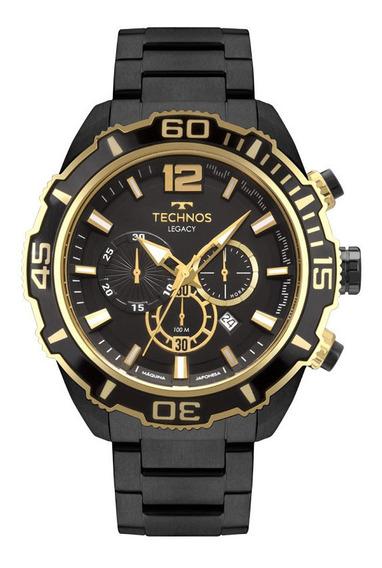 Relogio Technos Masculino Preto Dourado Cronografo Js26as/4p