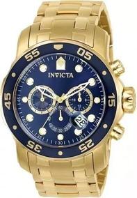 Relógio Invicta Pro Diver 0073 Original Dourado Com Azul