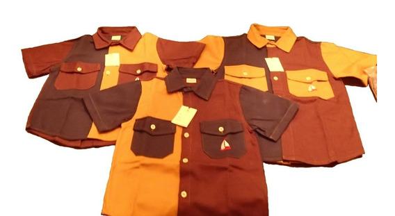 Camisa Niño Manga Corta Tela Dril 2 Bolsillos Con Tapas