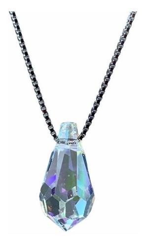 Imagen 1 de 4 de Cadena De Plata Dije Gota De Cristal Swarovski Tamaño Big