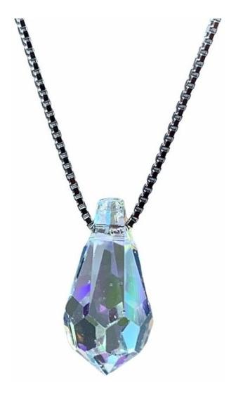 Cadena De Plata Dije Gota De Cristal Swarovski Tamaño Big