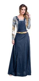 Linda Jardineira Longa Jeans Moda Evangelica Elegante Cod#el