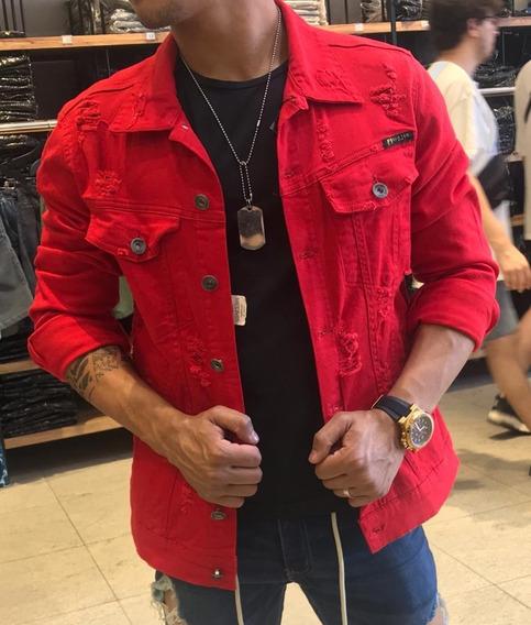 Jaqueta Jeans Masculina Destroyed Rasgada Desfiada Estilosa