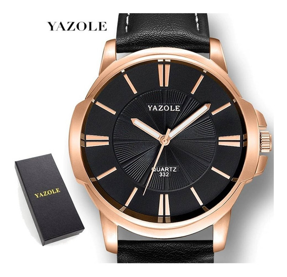 Relógio Masculino Yazole® Couro Total Black + Estojo