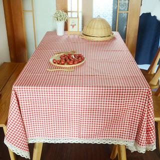 Mantel Cuadros Rojo Cubierta De Mesa De Encaje Borde Comedor