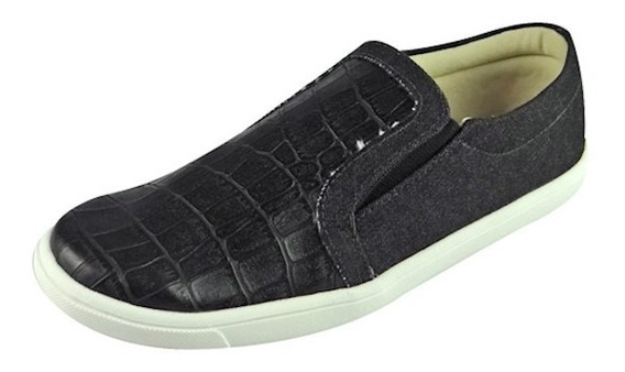Tênis Slip On Croco - Preto