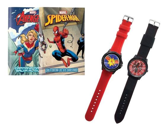 Clarín Colección Marvel Set 1 De 2 Relojes