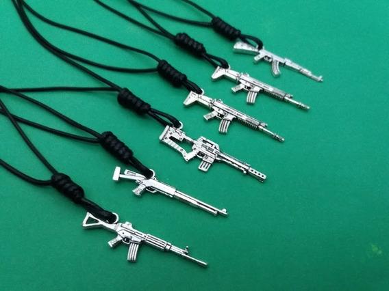 Colar Cordão Arma Kit Com 6 Colar Pingente Arma