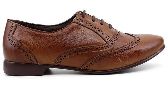 Sapato Oxford Chaville 240125 Couro Cor Caramelo