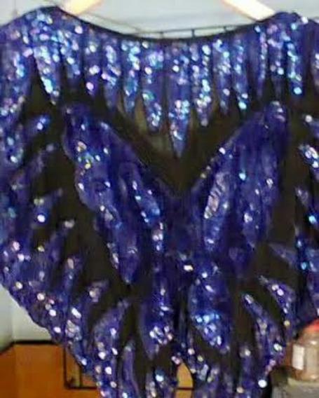 Blusa De Seda Con Bordado Lentejuelas Mariposa Azul
