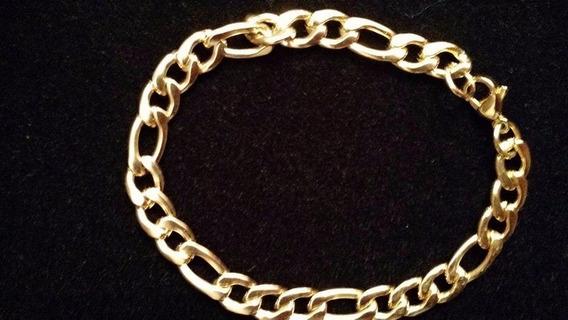Pulseira Bracelete Masculina Aço Inox Legitima Banho Ouro 18