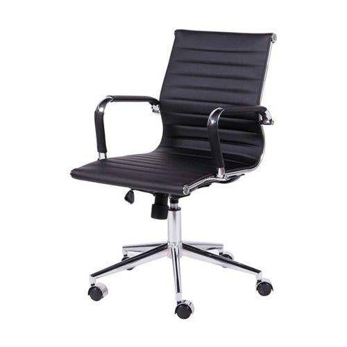 Cadeira Escritorio Diretor Giratória Eames Baixa Preta
