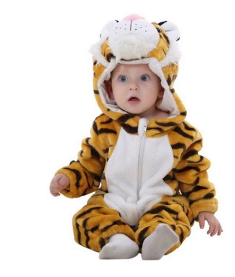 Macacão Infantil Criança Pijama Pelúcia Tigre Capuz Fantasia