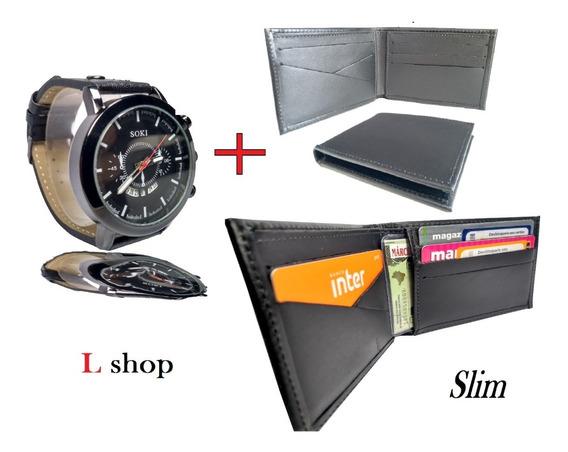 Relógio + Carteira De Couro Legítimo Slim Promoção