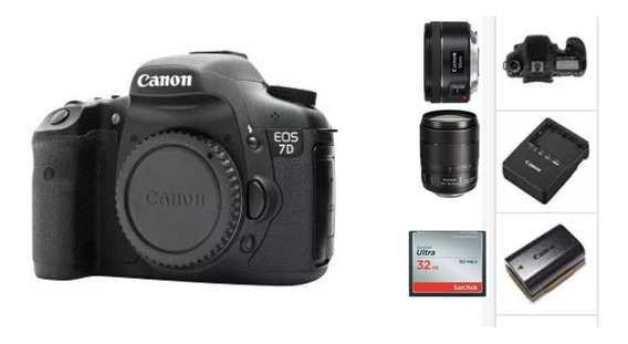 Kit Canon 7d (50mm+18-135mm+card)