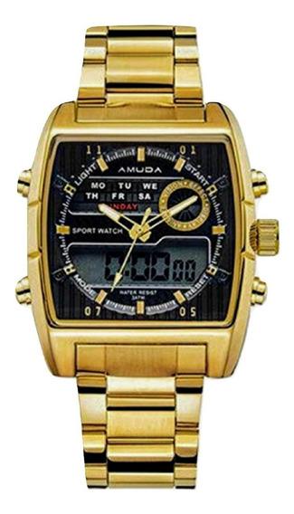 Relógio Dourado Masculino Amuda 5014 100% Funcional+carteira