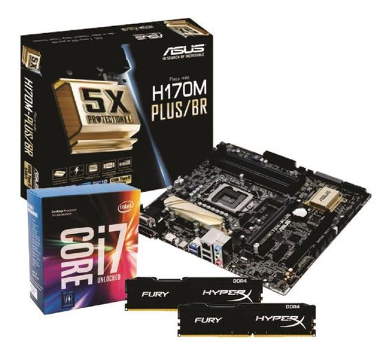 Kit Intel I7 7700k Placa Mãe Asus H170m Plus/br 2x 8gb Fury