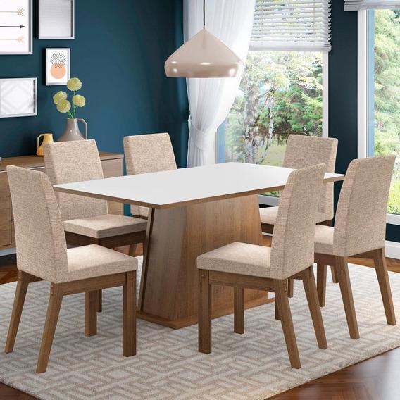 Conjunto Sala De Jantar Madesa Rebeca Mesa Com 6 Cadeiras