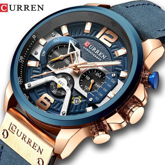 Relógio Masculino Couro Curren Azul Envio Imediato