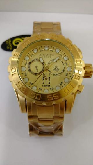 Relógio Atlantis Bolt Original Dourado Frete Gratis