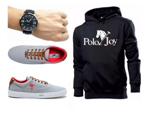 Tenis Masculino Polo Joy + Relógio + Moletom Envio Já