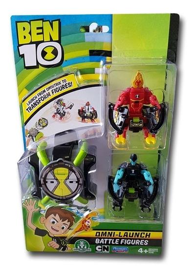 Ben 10 - Omnitrix Lançador De Figuras De Batalha - Chama E X
