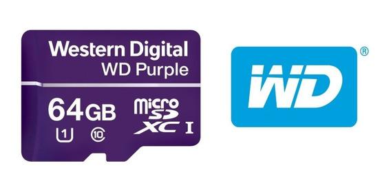Cartão De Memória Microsd 64gb Wd Purple Para Classe 10,