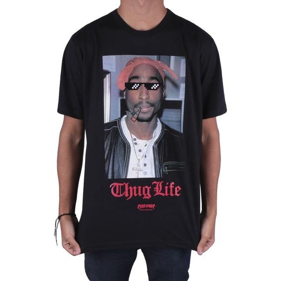Camiseta Chronic Original Tupac Thug Life Preta Lançamento