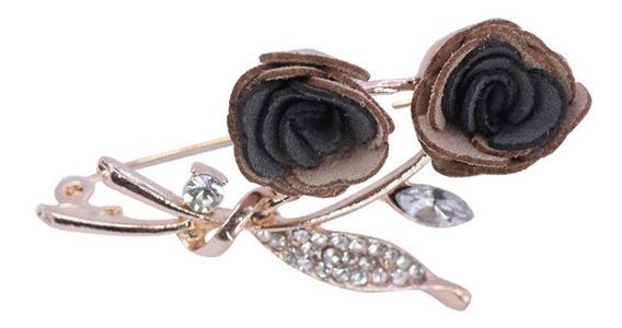 Dije Pin Broche Para Ropa Flores Y Piedras Cristal Negro