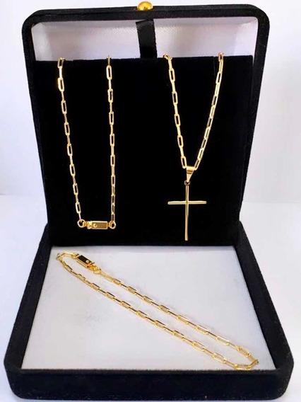 Corrente Cordão Banhada A Ouro 18k 70 Cm Com Crucifixo