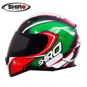 Capacete Shiro Sh881 Motegi Preto/branco/vermelho/verde