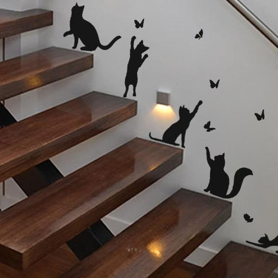 Adesivo Gato E Borboleta Escada Decoração Interior