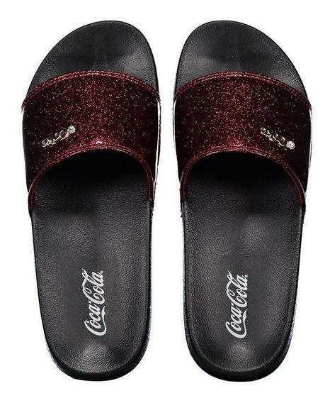 Chinelo Coca Cola Slide Glitter Preto E Vermelho
