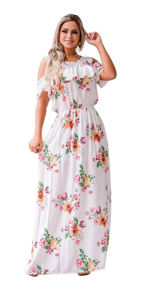 Vestido Longo Feminino Festa Social Midi Babado Evangelico