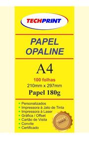 Papel Opaline 100 Folhas A4 180g, Liso Frente E Verso