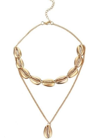 Collar Doble De Conchas De Metal Dorado Con Dije De Concha