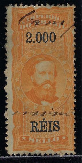 Brasil 1869 Selo Fiscal 2$ Com Ponto Papel Com Manchas Azuis