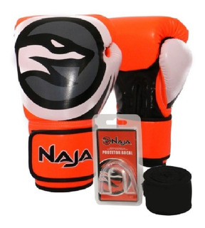 Kit Boxe Muay Thai Luva + Bandagem + Bucal Naja Colors